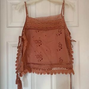 Free People mauve sexy festival tie lace top